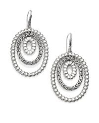 John Hardy | Metallic Bedeg Sterling Silver Textured Oval Orbital Drop Earrings | Lyst