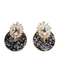 Shourouk | Metallic Luna Black Earrings | Lyst