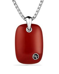 David Yurman Exotic Stone Tablet with Cabochon Red Jasper On Chain for men