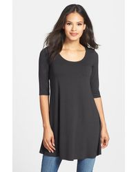 Eileen Fisher | Gray Scoop Neck Elbow Sleeve Jersey Tunic | Lyst