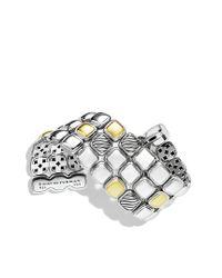 David Yurman   Metallic Chiclet Threerow Bracelet with Gold   Lyst