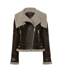 Karen Millen - Black Shearling Aviator Jacket - Brown - Lyst