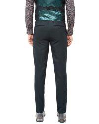 Ted Baker Green Baytro Birdseye Suit Trousers for men