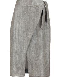 Iris & Ink Suki Metallic Tweed Wrap Skirt