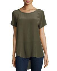 Eileen Fisher - Green Short-sleeve Silk High-low Top - Lyst