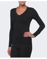 Armani Jeans Black Sequin Trim V-neck Top