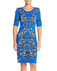 Adrianna Papell | Blue Intarsia Knit Body-con Dress | Lyst