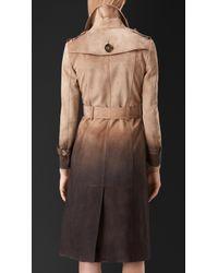 Burberry - Brown Dégradé Suede Trench Coat - Lyst