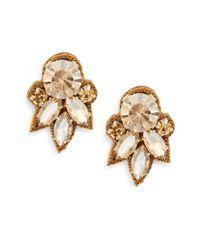 Deepa Gurnani - Metallic Austrian Crystal & Suede Cluster Drop Earrings/goldtone - Lyst