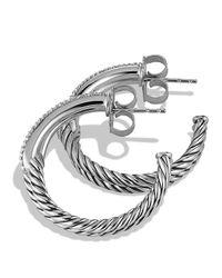 David Yurman | Metallic Labyrinth Hoop Earrings With Diamonds | Lyst