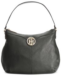 Tommy Hilfiger | Black Maggie Pebble Leather Large Hobo | Lyst
