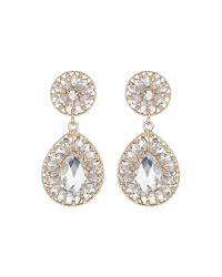 Mikey | Metallic Dual Crystal Stone Oval Drop Earring | Lyst