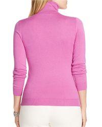 Lauren by Ralph Lauren | Pink Plus Silk Cotton Turtleneck Sweater | Lyst
