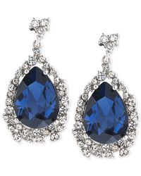 Carolee | Silver-tone Blue And Clear Crystal Teardrop Earrings | Lyst