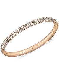 Swarovski | Metallic Rose Gold-tone Crystal Bangle Bracelet | Lyst