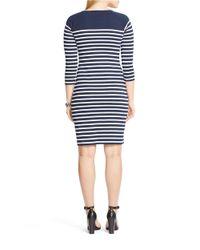 Lauren by Ralph Lauren Blue Plus Striped Lace-up Cotton Dress