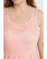 Forever 21 Pink Plus Size Crochet-trimmed Babydoll Dress