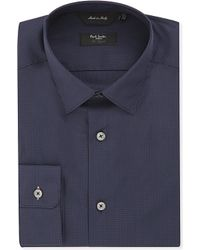 Paul Smith - Blue Byard Slim-fit Micro-check Cotton Shirt for Men - Lyst