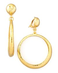 Jose & Maria Barrera Metallic Hammered Hoop Drop Clip Earrings