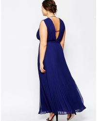 ASOS Blue Wedding Maxi Dress With Deep Plunge