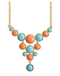 Kenneth Jay Lane - Multicolor Coral And Turquoise Stone Bib Necklace - Lyst