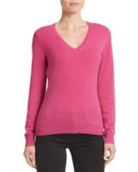 Lord & Taylor | Pink Plus Basic V-neck Cashmere Sweater | Lyst