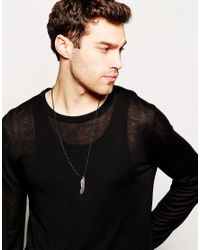 ASOS | Black Rope Necklace With Feathers for Men | Lyst
