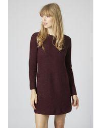 TOPSHOP Purple Clean-Cut Ribbed Jumper Dress