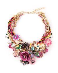 Night Market | Multicolor Floral Bib Necklace | Lyst