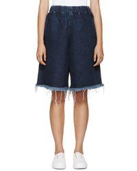 Marques'Almeida - Blue Denim Frayed Cropped Trousers - Lyst
