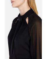 Karen Millen Black Draped High Neck Blouse