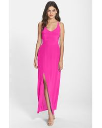 Charlie Jade - Pink Strappy Back Silk Maxi Dress - Lyst