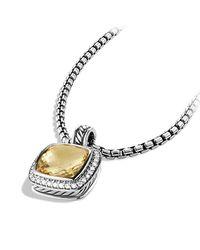 David Yurman - Metallic Albion Pendant With Diamonds, 11mm Gemstone - Lyst