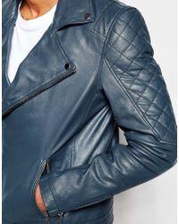 ASOS - Blue Leather Biker Jacket In Navy for Men - Lyst