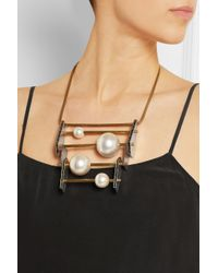 Lanvin - Metallic Faux Pearl And Swarovski Crystal Necklace - Lyst