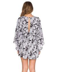 Motel | Black Button Front Playsuit With Frill Collar And Lace Trim | Lyst
