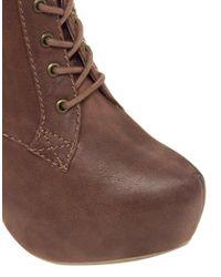 ALDO | Brown Arlean Cognac Heeled Boot | Lyst