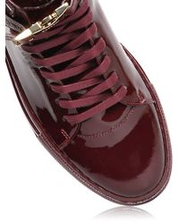 Buscemi Purple Clip Patent Leather High Top Sneakers