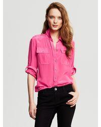 235b0321db716 Lyst - Banana Republic Silk Utility Blouse Pink Lipstick in Pink