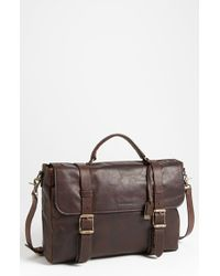 Frye | Brown 'logan' Leather Flap Briefcase for Men | Lyst