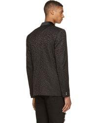 Versus - Black On Black Leopard Print Blazer for Men - Lyst