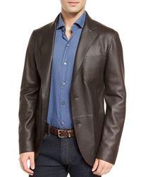 Ermenegildo Zegna - Black Deerskin Leather Two-button Blazer for Men - Lyst