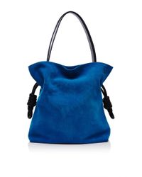 Loewe - Blue Flamenco Knot Bag In Turquoise Suede - Lyst