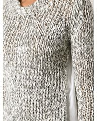 Dondup - Gray Chunky Knit Sweater - Lyst