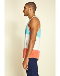 Forever 21 Blue Heathered Colorblock Tank Top for men