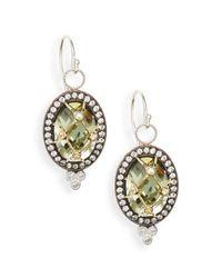 Jude Frances - Green Amethyst, White Sapphire & 18k Yellow Gold Earrings - Lyst