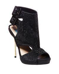 Betsey Johnson Black Rhinestone-Studded Platform Sandals