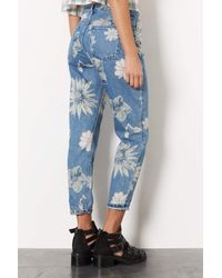 TOPSHOP - Gray Moto Floral Print Mom Jeans - Lyst