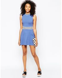 ASOS - Blue Skater Dress With Trim - Lyst