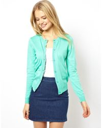 ASOS | Green Button Front Cardigan with Crew Neck | Lyst